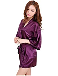DaHeng Women 's Pure Color Sedoso Kimono Corta Bata