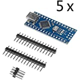 tinxi® 5X Mini USB Nano V3.0 ATmega328 5V 16M Micro-controller CH340G board für Arduino