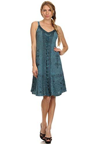 Sakkas Sakkas Jayanti – vestito in rayon con ricami Blu turchese