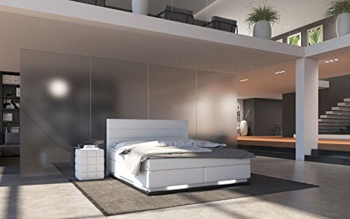 Sedex Ripani Boxspringbett 180x200cm Bett LED Doppelbett Polsterbett Hotelbett Kunstleder - weiß
