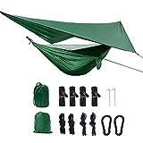 Qrout Camping Hängematte Outdoor mit Moskitonetz und Wasserdicht Plane Ultra-Licht Atmungsaktiv, Schnell Trocknende Fallschirm Nylon Camping Hängematte Field Survival Set (Leichtgewicht)