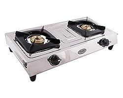 Prestige Star Stainless Steel 2 Burner Gas Stove, Metallic Silver