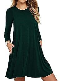 Avacoo Damen Kleider Knielang Kleid Langarm Elegant Kleid Baumwolle Casual  Kleider mit Tasche 31869523fb