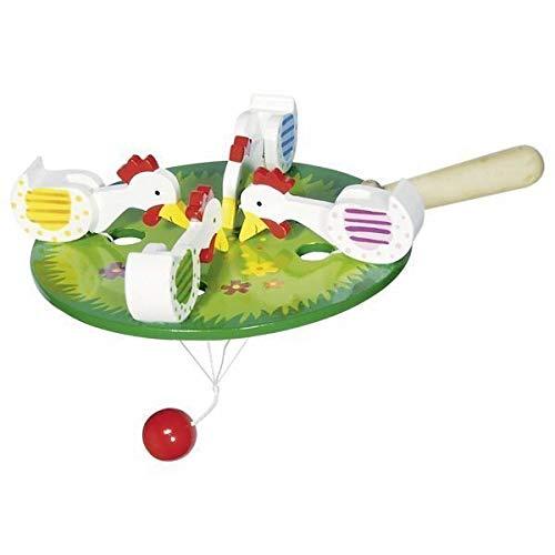 Goki 53915 - 4 pickende Hühner Spielzeug
