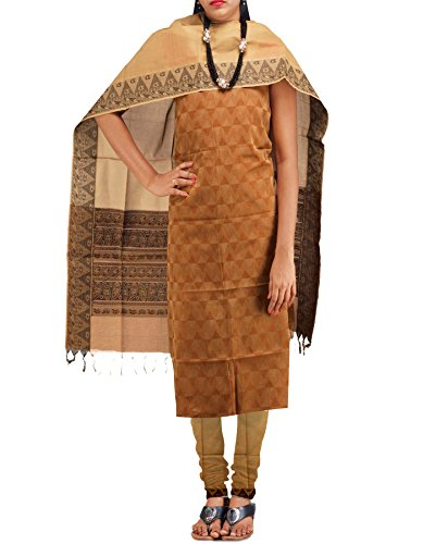 Unnati Silks Women Unstitched Khaki Brown Pure Handloom Kanchi Cotton Salwar Kameez