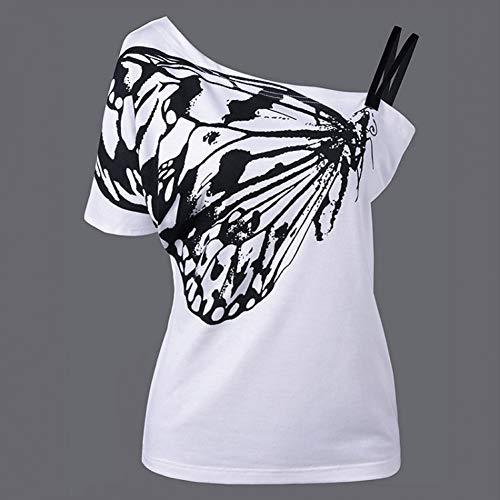 y Damen Schräge Schulter T Hemd Schmetterling Gedruckt Band Kurzarm Frauen Tops Tees Schmetterling Rose 1980 Einhorn ()
