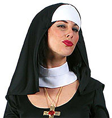 Halloweenia - Nonnen Haube und Kragen - Kirche Mütze Hut Kostüm, Schwarz