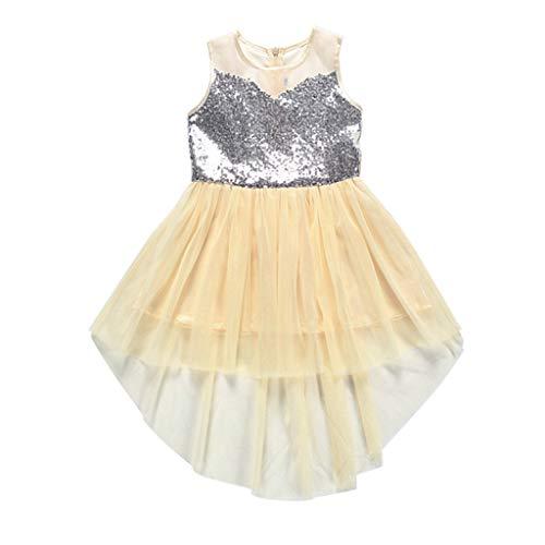 Livoral Mädchen Party Prinzessin Kleid Kinder unregelmäßige Pailletten Mesh Auge Kleid Hochzeit Tüll Kleid(Beige,140)