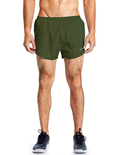 Baleaf Men's Quick-Dry Lightweight Pace Running Shorts Army Green Size XL