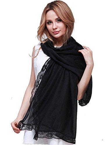 Hengsong Damen Retro Vintage Quasten Schal Einfarbig Kopftuch Schal Tuch Halstuch Stola Sonnenschutz (Schwarz)