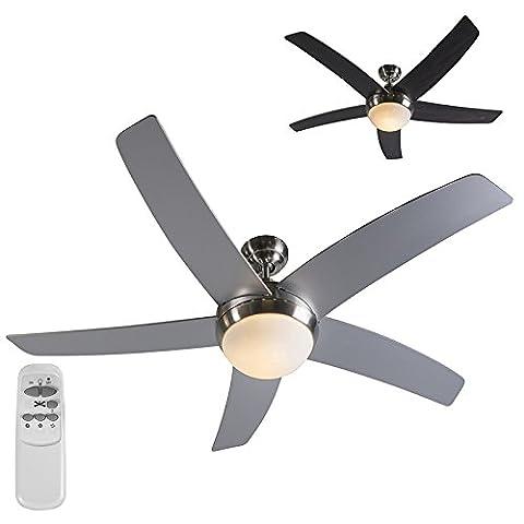 QAZQA Moderne Ventilateur de Plafond avec telecommande et lumiere Cool