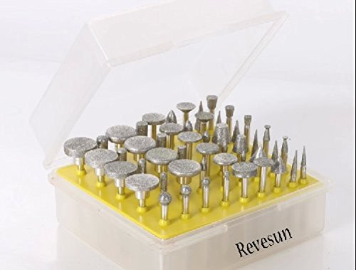Revesun, lot de molettes à pointes diamant pour outil rotatif de 50Pc à tête lapidaire à revêtement diamant, 120 grains
