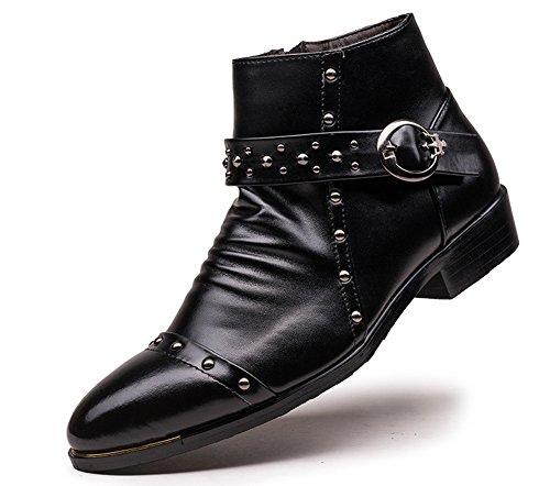 anlarach-hommes-dcontract-en-cuir-verni-neige-plat-bottines-noires-noir-43-eu