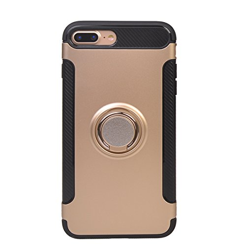 "Coque iPhone 7 Plus (5.5""),COOLKE Haute qualité Etui Housse Robuste Protection de Double Couche d'Armure 360 Degrés Rotation Ring Holder Stand Protection case cover pour Apple iPhone 7 Plus (5.5"") - O Or"