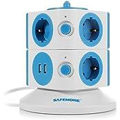 SAFEMORE schaltbare 7 Fach Steckdosenleiste Mehrfachsteckdosen Steckdosenturm mit 2 USB Anschlüsse 2500W/10A Blau