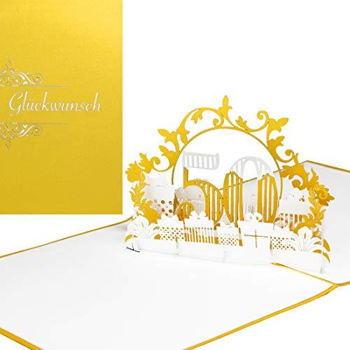 """Pop Up Karte""""50"""" in edlem Gold & Weiß - zum 50. Geburtstag & zur Goldhochzeit - 3D Karten zur Goldene Hochzeit - Geburtstagskarte & Glückwunschkarte - als Deko, Geschenkgutschein zum Jubiläum"""