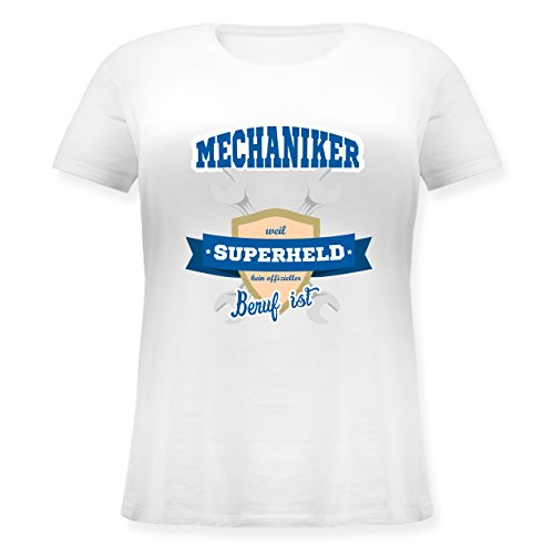 Handwerk - Mechaniker - weil Superheld kein offizieller Beruf ist - M (46) - Weiß - JHK601 - Lockeres Damen-Shirt in großen Größen mit Rundhalsausschnitt (Plus Size Superhelden Shirts)