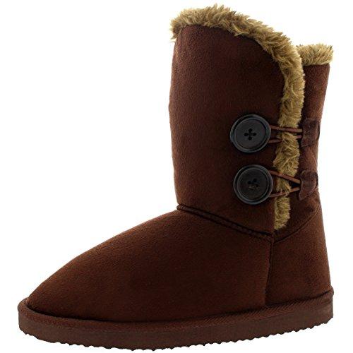 Damen Schuhe Twin Knopf Fell Schnee Regen Stiefel Winter Fur Boots Dunkelbraun