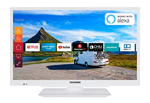 Telefunken XH24G501V-W 61 cm (24 Zoll) Fernseher (HD-ready, Triple Tuner, Smart TV, Prime Video, 12 Volt) (Tv 24 Zoll Led)