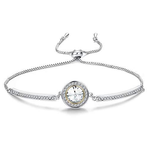 Sllaiss 925 Sterling Silber Armband mit Swarovski-Kristallen Elegante Klassisches Armreif Zartes Armband Schmuck Geschenk für Freundin Frau Mom Mädchen