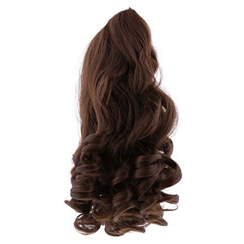 Phenovo 8 Colors Fantasy Middle Parting Wavy Curly Hair Wig for 18inch American Girl Dolls Hairpiece Making Supplies - Coffee, as described