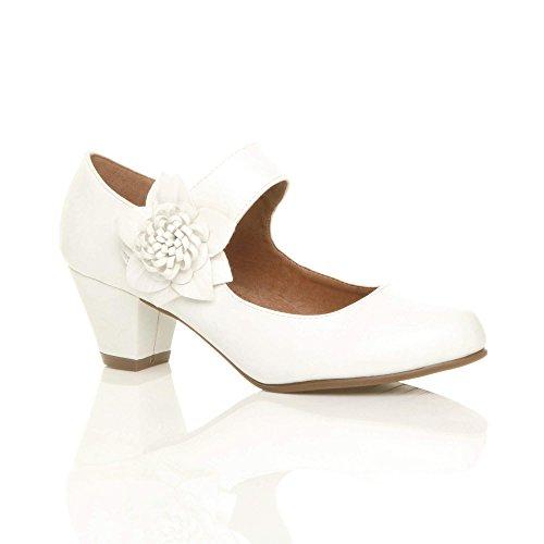 Damen Mitte Blockabsatz Lederfutter Komfort Blume Mary Jane Schuhe Größe 5 38 Strap Mary Jane Pump