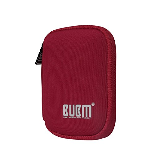 BUBM Estuche Mini para Ordenar USB Funda Suave para Proteger USB Perfectamente, Tamaño adecuerdo para llevar 6 Gomas Elásticas para Ajuestar USB, Rojo Oscuro