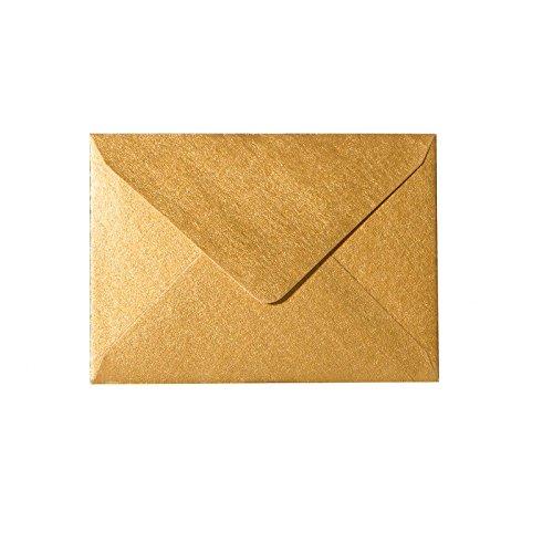 100 Mini Briefumschläge 60 x 90 mm 6 x 9 cm - Gold- 90 g/m² - Dreieckslasche (Visitenkarten-umschlag)
