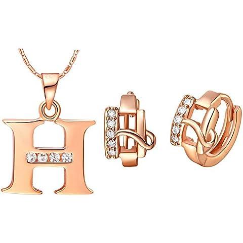 Bling fashion placcato in oro rosa 18K 28lettere lettera H orecchini e (Dragonfly 9 Accent)