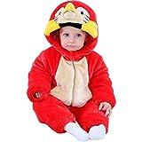 LPATTERN Mono de Franela Invierno para Bebés Unisex Mameluco con Capucha Disfraz de Animales Frutas, Loro, 6-12 Meses