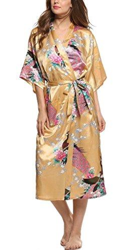 Damen Morgenmantel Kimono Robe Bademantel Nachtw?sche kurz aus Satin mit Peacock und Bl¨¹ten entwerfen Robe f¨¹r Hochzeit & Party & Schlafzimmer Lange Stil Yellow XXL (Shopping-kimono Roben)