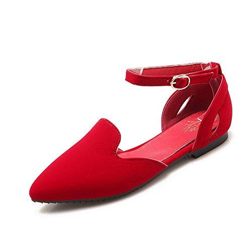 VogueZone009 Femme Couleur Unie Dépolissement Non Talon Boucle Pointu Chaussures à Plat Rouge