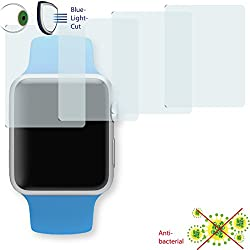 4x Disagu ClearScreen Overlay Screen Protector for Apple Watch Sport 42mm-Anti-Bacterial Bluel Light Cut Filter (Deliberately Smaller than Display due to Curved Shape)