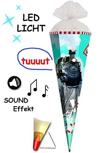 SOUND-Modul-LED-Licht-Effekt–Schultte-Lokomotive-Eisenbahn-70-85-cm-rund-6-eckig-Organza-Filz-Abschlu-Zuckertte-Roth-mit-Holzspitze-fr-Jungen-Geschenktte-Lok-Bahn-Zug-Schiene-Dampflok-Fahrzeuge