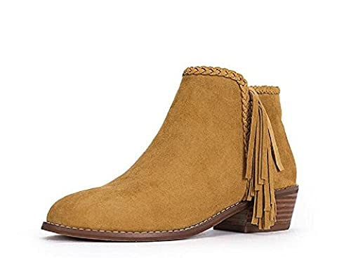 Fringed women's boots with leather and velvet big size and naked boots women shoes , chestnut ,