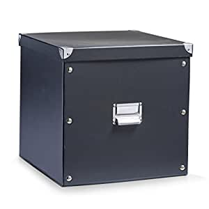 Zeller 17635 Boite de rangement en carton noir, 33,5 x 33 x 32 cm