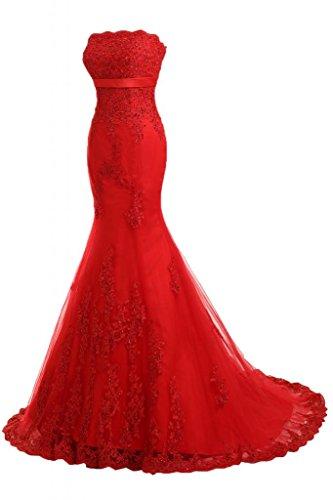 Toscana sposa moda sposa abiti da sera della sirena superiore di qualità lungo con Lace Festival del partito della sfera di promenade dresses Rosso