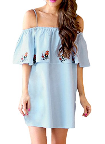 ACHICGIRL Women's Casual off Shoulder Floral Printed Ruffle Mini Dress Blue