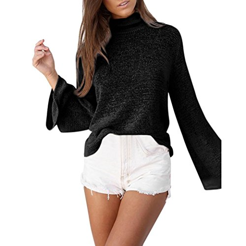 AIMEE7 Mode Femmes Pull à Col Roulé à Manches Longues Tricot Pull Chandail Lâche Pull Tops Blouse Noir