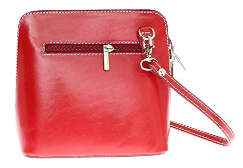 H&G Vera Pelle Trapezoid Shaped Mini Italian Real Leather Cross-Body Handbag (Red_Black) Red