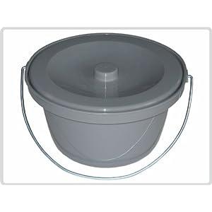 Toilettenstuhleimer Grau, universal – Toiletteneimer Duschtoilettenstuhl Topf