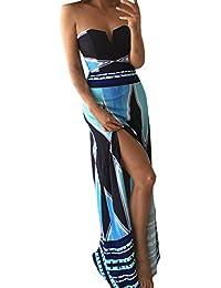 62bdad2920e4 BoBoLily Vestiti Lunghi Donna Eleganti da Cerimonia Estivi Bandeau Abito da  Sera Fiore Stampato con Spacco