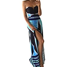 BoBoLily Vestiti Lunghi Donna Eleganti da Cerimonia Estivi Bandeau Abito da  Sera Fiore Stampato con Spacco 6dd43aacbb1