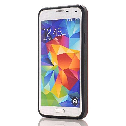 Galaxy S6 Edge Coque,EVERGREENBUYING [Slider Series] Ultra Slim léger 2 en 1 SM-G9250 Cases [Porte coulissante semi-automatique][Housse de Protection] [Fente pour Carte] Cover Pour Samsung GALAXY S6 E Rouge