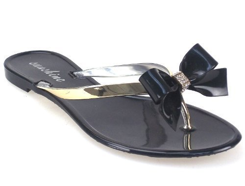 Unknown , Sandales pour femme - Jelly 3 Diamante Bow Sandal - Black