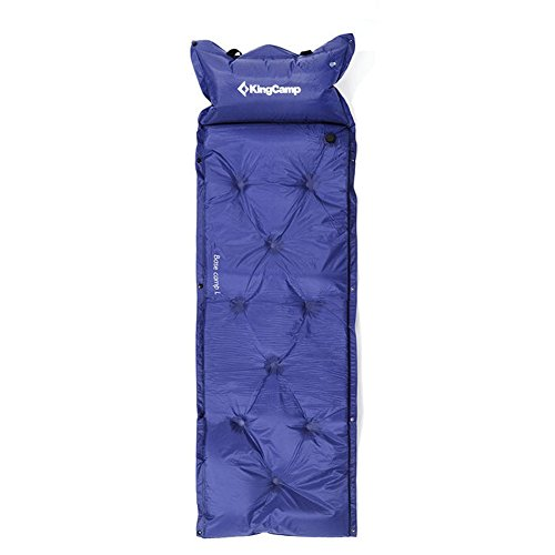 KING CAMP selbstaufblasbare Campingmatte mit Nackenstütze Basecamp (blau, L 188x155x3 cm)