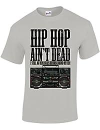 T-Shirt pour hommes slogan Hip Hop Ain't Dead et image Ghetto Boom Box