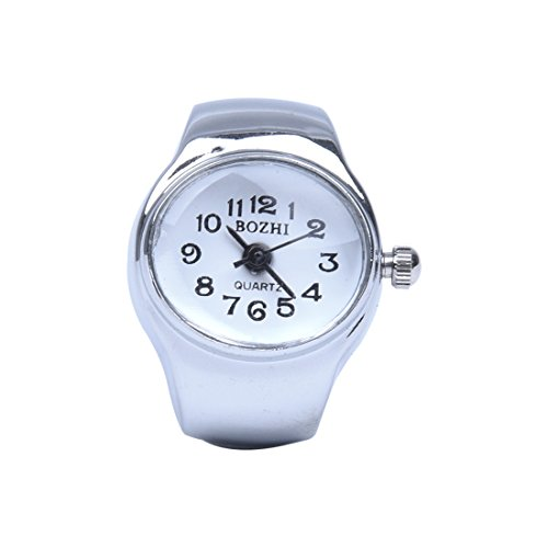 Watch-SODIAL(R) Watch Quartz Movement Oval Ring Alloy Deco Woman WHITE
