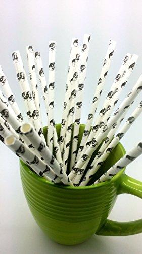 Skull Halloween Paper Straws - Party DIY, Mason Jars 100 Straws by Beauty Acrylic