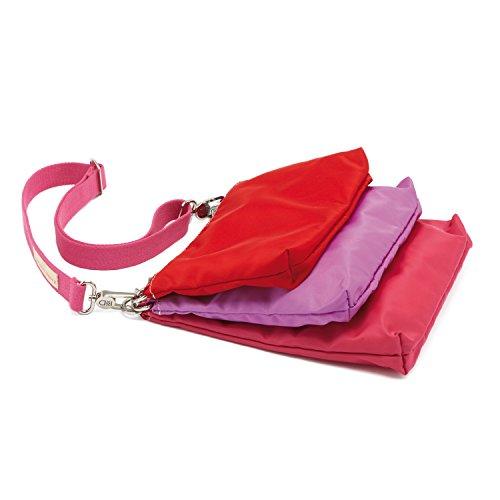 Sac à main femme trois pochettes colorées modulables en nylon